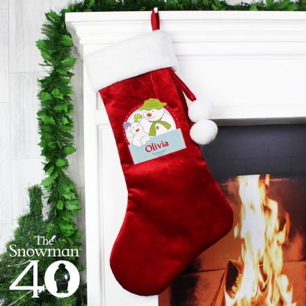 Personalised Red The Snowman and the Snowdog Christmas Stocking